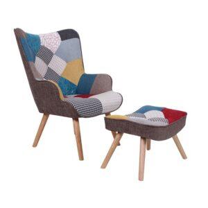MARON Πολυθρόνα+Σκαμπώ Ξύλο/Ύφ.Patchwork-2
