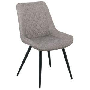 MORGAN Καρέκλα Μεταλλική Βαφή Μαύρη/PU Γκρι