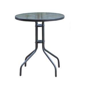 BALENO Τραπέζι Μέταλλο Βαφή Γκρι – Γυαλί Tempered