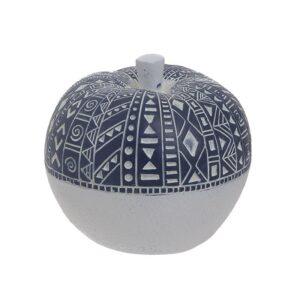 Inart Διακοσμητικό Μήλο Πολυρητίνης Λευκό/Μπλε 10x10x9cm