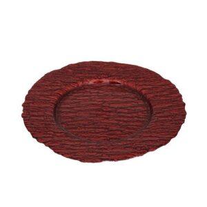 Espiel Ramos Πιατέλα Σερβιρίσματος Γυάλινη Κόκκινη με Διάμετρο 33.5cm
